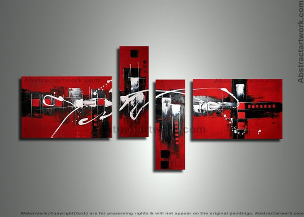 Red Multi Panels Painting 233 - 64x24in
