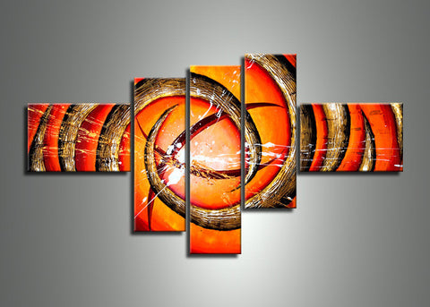 Orange Abstract Art Oil Painting 247 -  70x38in