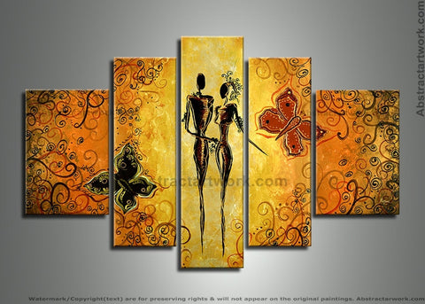 Black Human Figure Art Painting 248 - 58x36in