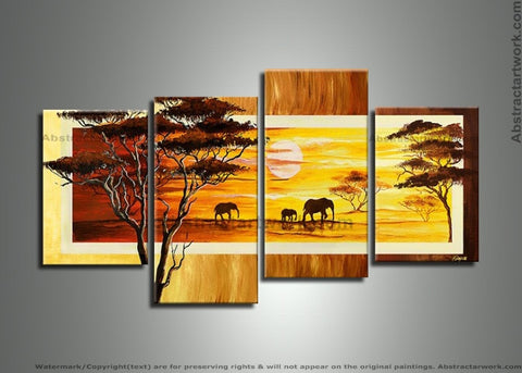 African Forest Art with Elephants 257 - 56x30in