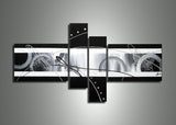 Abstract Black and White Painting 261 - 64x34in
