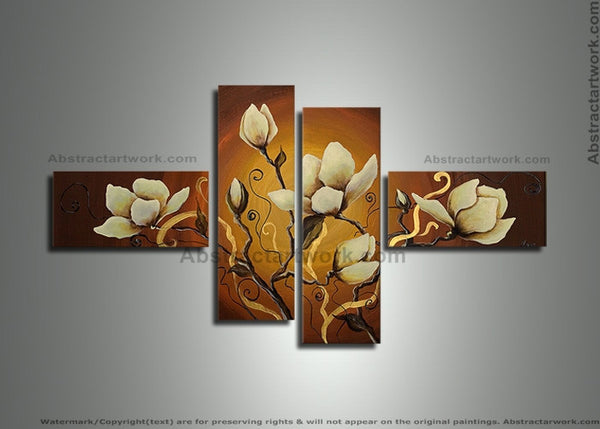 Multi Panels Flower Painting 269 - 60x36in