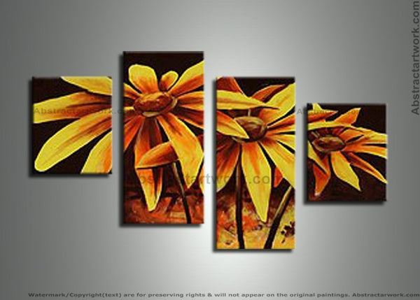 Yellow Floral Art Painting 273 - 56x35in