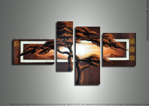 Africa Tree Painting Brown 290 - 56x36in