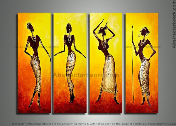 African Folk Dance Art Painting 293 - 48x36in