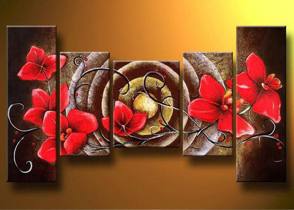 Brown Multi Panel Art Red Flowers 321 - 44x28in