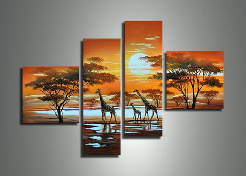 Sunrise African Art Painting 327 - 48x34in