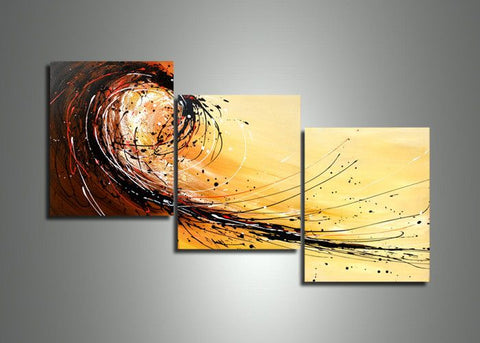 3 Panel Canvas Art Painting Yellow 404 - 60x24in