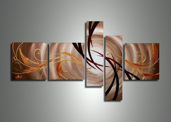 Brown Multi Panels Painting 407 - 64x30in