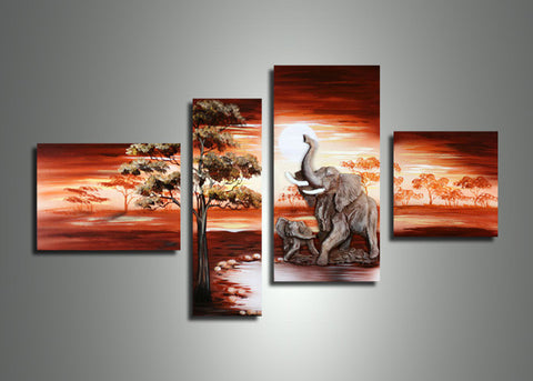 Elephant Africa Painting 408 - 56x34in