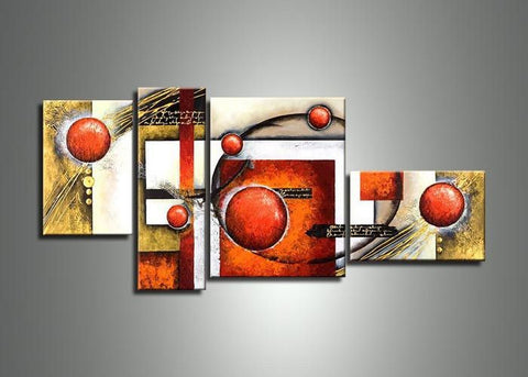 Abstract 4 Panels Brown Painting 432 - 63x32in