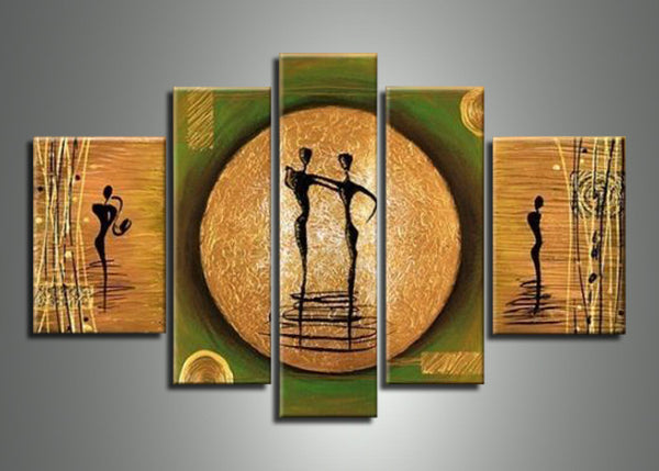 Asia Green Brown Art Painting 436 - 60x32in