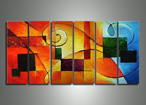6 Panel Orange Art Painting 449 - 60x30in
