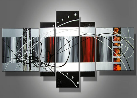 Abstract Textured Oil Painting 5 Panels 483 - 60x30in
