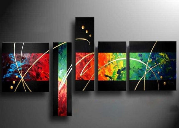 Abstract Multi Color Canvas Art Painting 485 - 68x26in