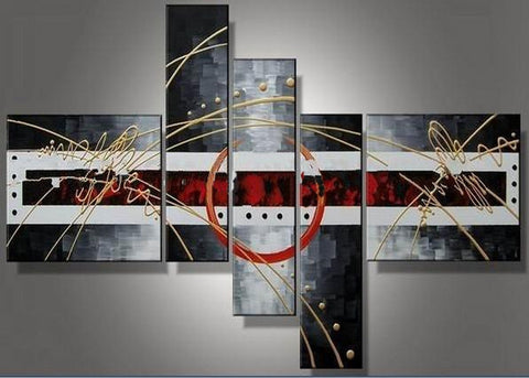 Abstract Canvas Grey Red Oil Painting 486 - 64x34in