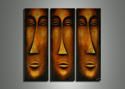 African Mask Art Painting- 36x36in