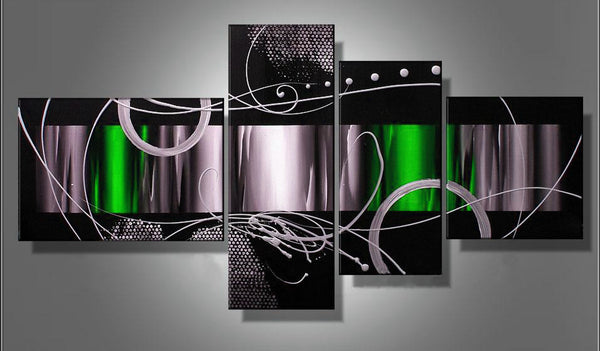 Abstract Painting - Black, Grey & Green 577 - 64 x 32in