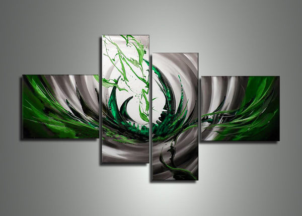 Green Silver Abstract Painting 586 - 64x34in