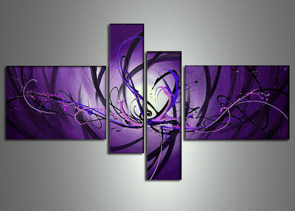 Purple Abstract Art Painting 692 - 63x32in