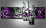 Abstract Purple Oil Painting 805 - 64x32in