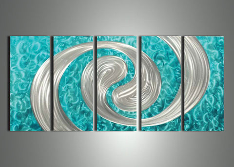 Blue Metal Wall Art Painting - 60x24in