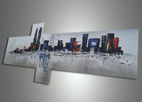 Blue Abstract Architecture Painting - 63x33in
