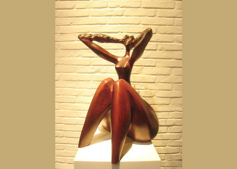 Abstract Woman Sculpture Yellow