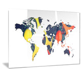 Orange and Yellow Geo World - Map Canvas Art PT2722