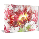 Red Abstract Sunflower - Floral Canvas Artwork
