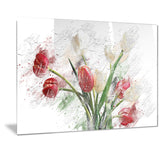 Red and White Roses - Floral Canvas Artwork