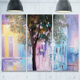 couple walking in rain abstract landscape canvas print PT6017