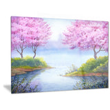 flowering trees over lake landscape canvas artwork PT6034