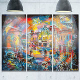 night city with people cityscape canvas artwork PT6074