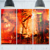 Abstract Fire Red Abstract Canvas Artwork