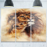 loving lioness animal canvas artwork PT6096