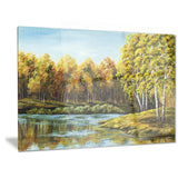 green autumn lake landscape canvas artwork PT6097