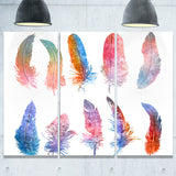 rainbow feathers, raster illustration floral canvas art print PT6136