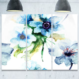 seamless summer blue flowers floral canvas print PT6142