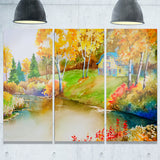 house and quiet pond in fall landscape canvas art print PT6158