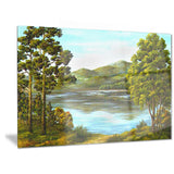 mountain lake with blue water landscape canvas art print PT6167