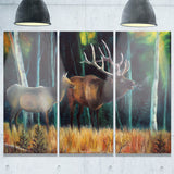 wandering deer in forest animal canvas art print PT6178