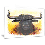 Fierce Bull Illustration Animal Canvas Art Print