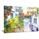 flowers near the house landscape canvas art print PT6222