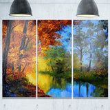 autumn reflecting in river landscape artwork print PT6233