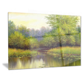 green summer with river landscape canvas print PT6267