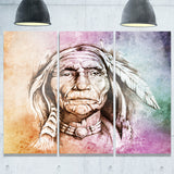 american indian head portrait canvas art print PT6271