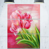 red tulips in red background floral canvas print PT6284