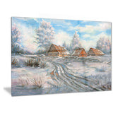 snow village landscape canvas art print PT6320