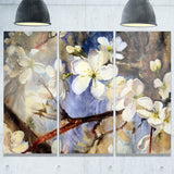 white spring flowers floral canvas print PT6349